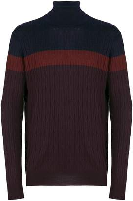 Corneliani contrast roll-neck sweater
