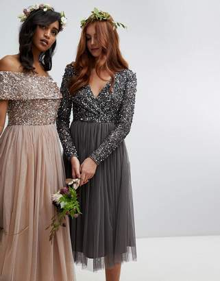 Maya long sleeve wrap front midi dress with delicate sequin and tulle skirt in charcoal