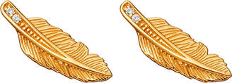Astley Clarke Mini feather biography 18ct yellow gold-plated and sapphire stud earrings