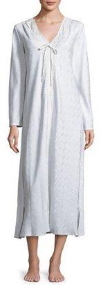 Oscar de la Renta Brushed Back Satin Jacquard Nightgown, Ice Blue $170 thestylecure.com