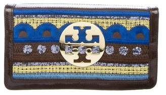 Tory Burch Patent Leather-Trimmed Embellished Clutch