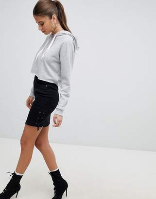 Noisy May Denim Skirt With Lace Up Detail