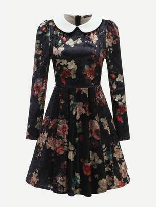 SheinShein 40s Contrast Collar Floral Velvet Fit & Flare Dress