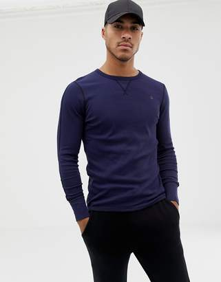 G Star G-Star long sleeve crew neck with exposed seam detail in navy