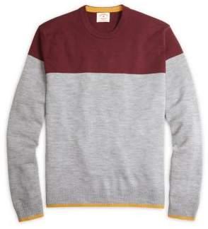 Brooks Brothers Red Fleece Colorblock Crew Wool Sweater
