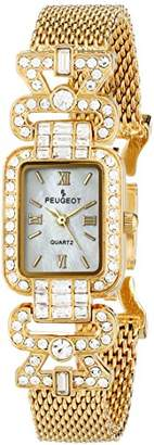 Peugeot Women's 7070G Crystal Bezel Gold-Tone Mesh Bracelet Watch