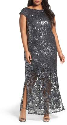 BRIANNA Sequin Lace Column Gown
