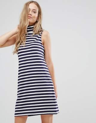 Vila High Neck Striped Dress