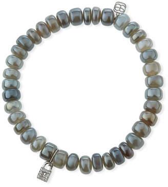 Sydney Evan Gray Moonstone & Diamond Lock Bracelet