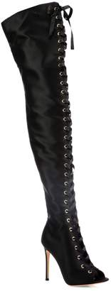 Gianvito Rossi Marie Satin Lace-Up Peep-Toe Over-The-Knee Boots