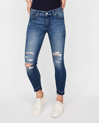 Express Petite Mid Rise Distressed Stretch Cropped Jean Leggings