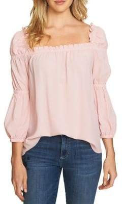 CeCe Ruffled Square Neck Blouse