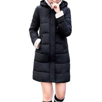 Pervobs Women Parkas&Down Jacket Pervobs Clearance Sale! Women Winter Warm Coat Parka Solid Hooded Full-Zipper Pocket Slim Down Jacket Long Overcoat
