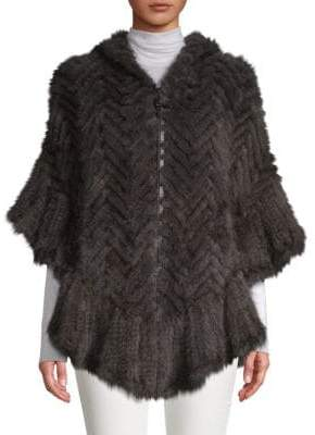Herringbone Knit Hooded Dyed Mink Fur Poncho