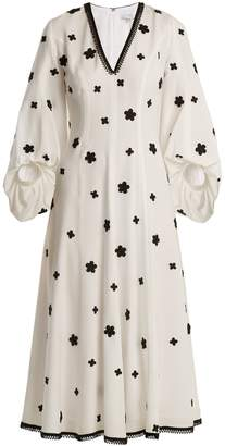 Andrew Gn Floral-embroidered puff-sleeved silk midi dress