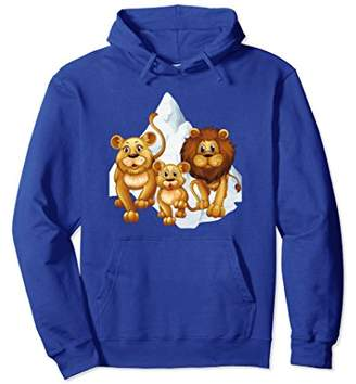 Lion Family Snowy Mountain Long Sleeve Pullover Hoodie