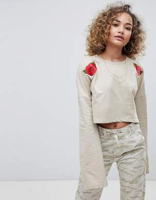 Criminal Damage Elm Crop Top With Rose Embroidery