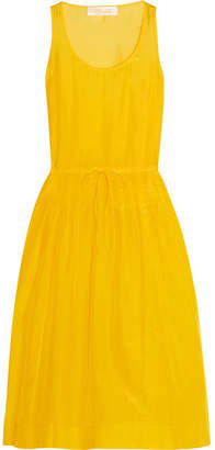 Diane von Furstenberg - Pleated Cotton And Silk-blend Gauze Dress - Yellow $270 thestylecure.com