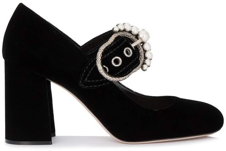 Miu Miu Black Velvet Crystal Buckle 90 Mary Jane Heels