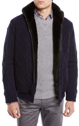 Neiman Marcus Il Borgo for Fur-Lined Cashmere/Wool Fisherman Knit Blouson Jacket