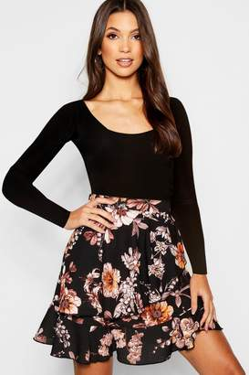 boohoo Floral Wrap Ruffle Mini Skirt