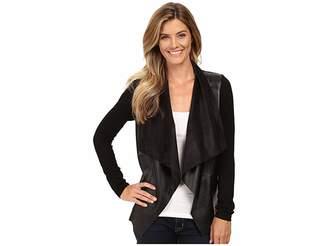 MICHAEL Michael Kors Faux Leather Drape Front L/S Sweater