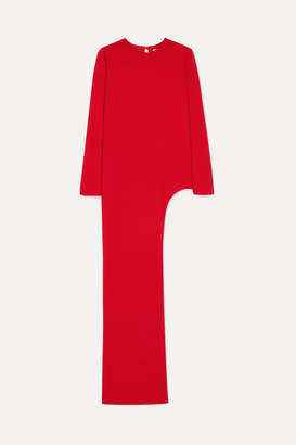 Semsem Sarah Asymmetric Silk-crepe Tunic - Red