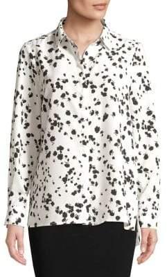 Ellen Tracy Printed Chiffon Button-Down Shirt