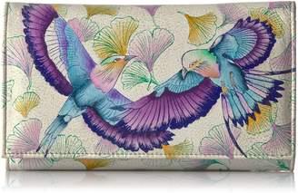 Anuschka Handpainted Leather Checkbook Wallet/Clutch wings Of Hope Wallet
