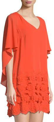 Tahari ASL V-Neck Embroidered-Hem Cape Dress