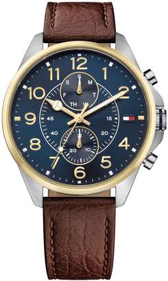 Tommy Hilfiger Gold-Trim Sport Watch With Brown Leather Strap