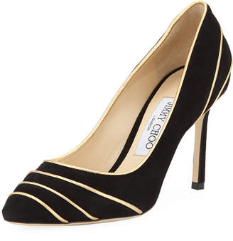 Jimmy Choo Romy Suede Pumps with Metallic Piping
