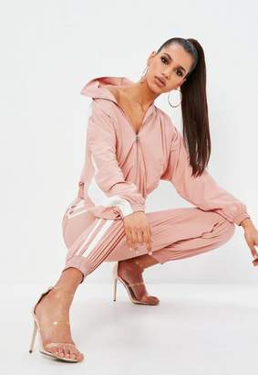 Missguided Petite Pink Shell Suit Double Side Stripe Pants