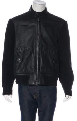Tom Ford Lamb Shearling-Lined Lambskin-Front Jacket