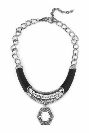 Belle Noel by Kim Kardashian Palladium Honey Hexagon and Black Leather Necklace
