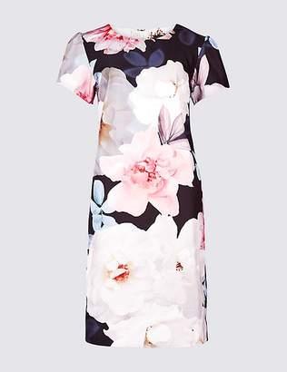 Marks and Spencer Floral Print Satin Short Sleeve Tunic Dress