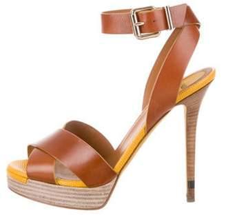 Fendi Crossover Platform Sandals Brown Crossover Platform Sandals
