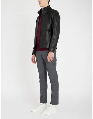 Michael Kors Funnel-neck leather jacket