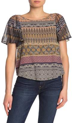 Lucky Brand Flutter Sleeve Mixed Media Top