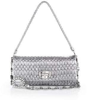 Miu Miu Nappa Crystal Embellished Metallic Leather Shoulder Bag