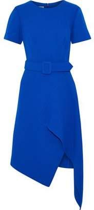 Oscar de la Renta Asymmetric Belted Wool-Blend Crepe Dress