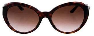 Versace Medusa Leather-Trimmed Sunglasses