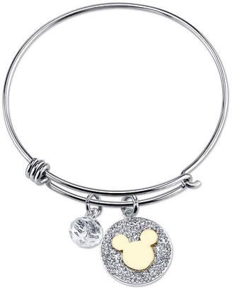 Disney Crystal Pure Silver Over Brass Mickey Mouse Bangle Bracelet
