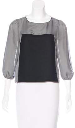 Tibi Silk Colorblock Top