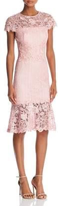 Tadashi Shoji Lace Flounce-Hem Dress