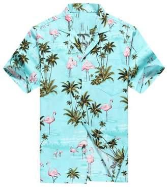 Flamingos Hawaii Hangover Made in Hawaii Men's Hawaiian Shirt Aloha Shirt Pink Allover in Turquoise