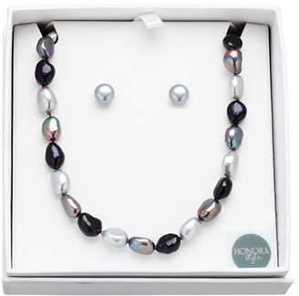 Honora STYLE 8MM-9MM Black Tie Pearl Earrings and Necklace Set