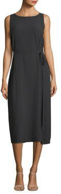 Eileen Fisher Boatneck Tie-Front Silk Dress $378 thestylecure.com