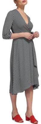 Whistles Callie Stripe Wrap Dress