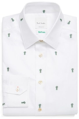 Men's Paul Smith London Extra Trim Fit Embroidered Cactus Dress Shirt $275 thestylecure.com